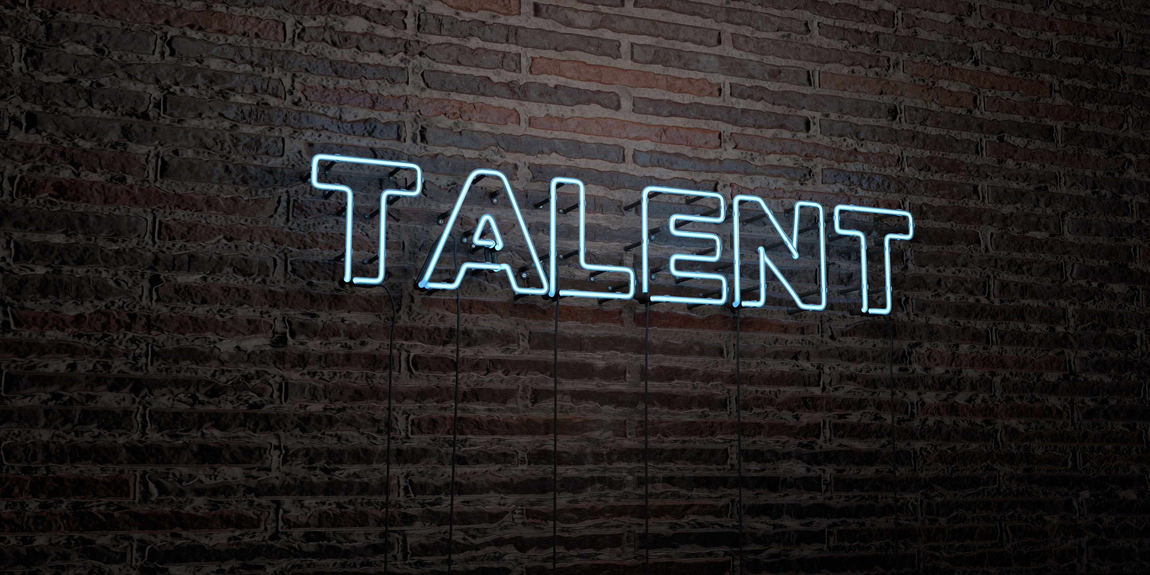 TALENT -Realistic Neon Sign on Brick Wall background