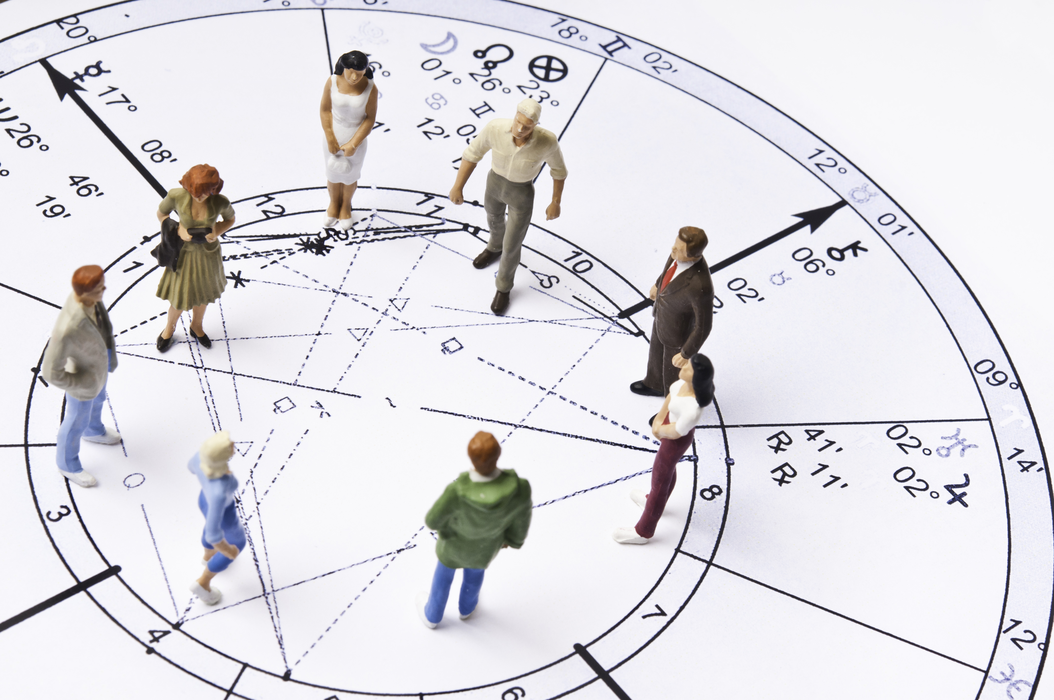 astrology chart with people figurines