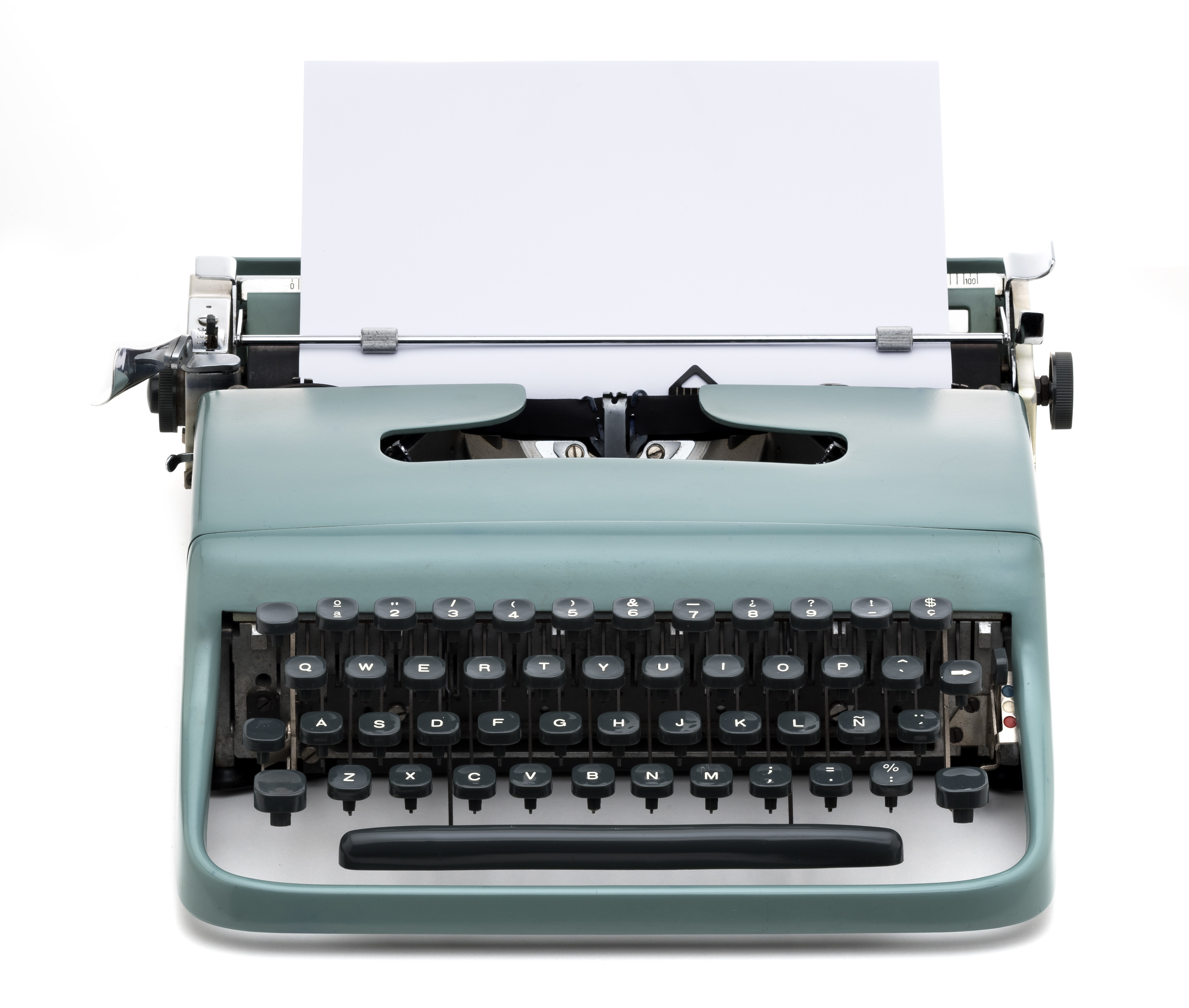 vintage typewriter with blank paper